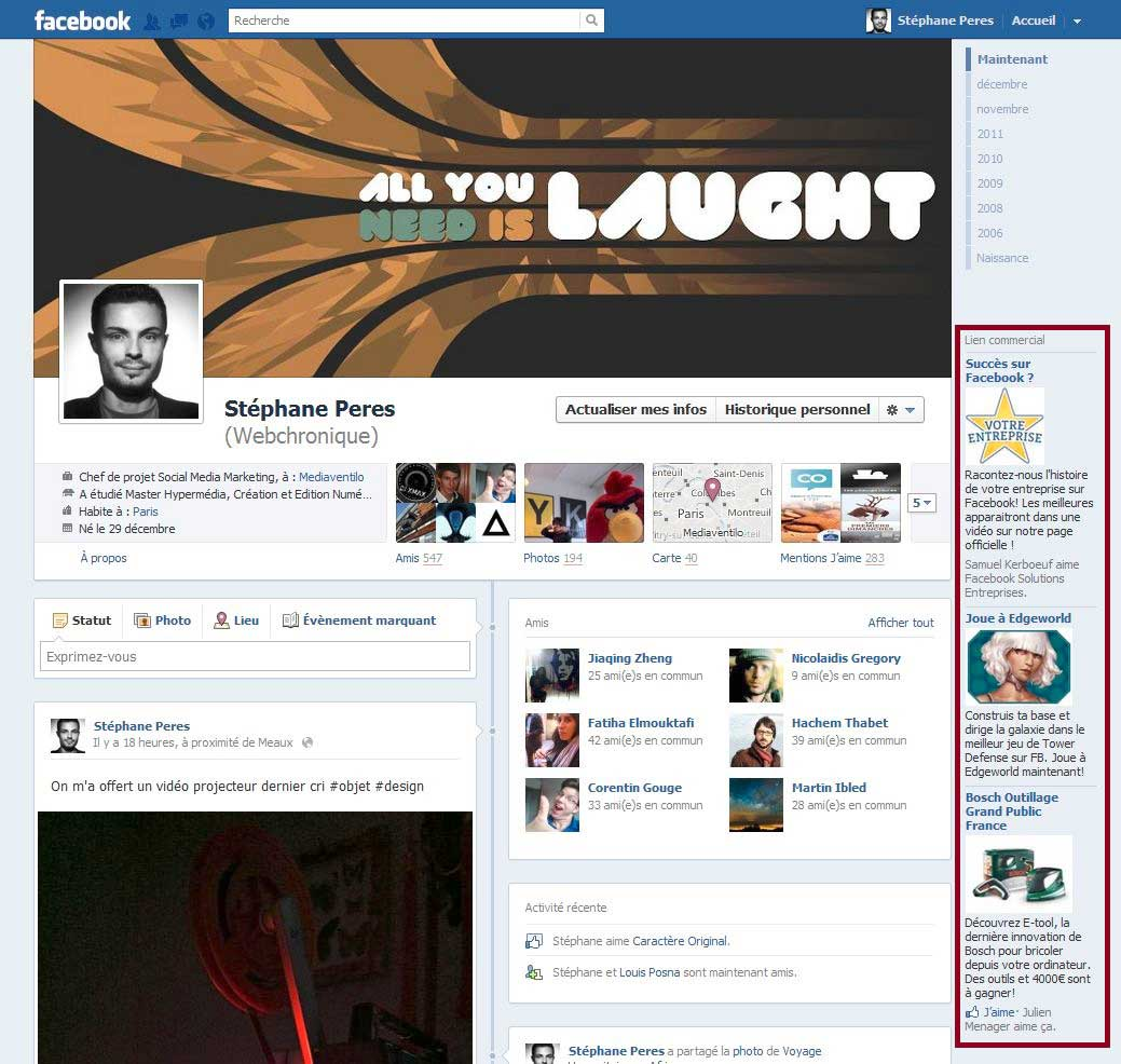 ads facebook timeline   webchronique Facebook Timeline et le marketing