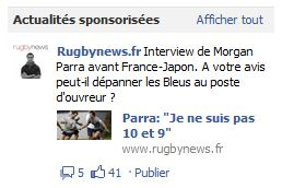 Actualite sponsorise rugbynews   webchronique Facebook : publicité et e commerce