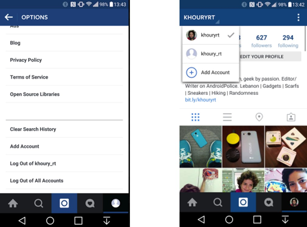 5 instagram arrivee multicompte - webchronique